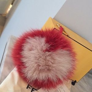 Authentic Red and Pink Fur Fendi Charm